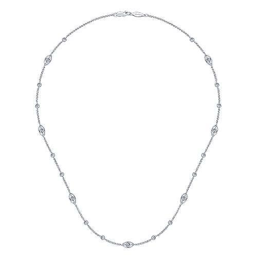 14k White Gold Endless Diamonds Diamond By The Yard Necklace angle 2