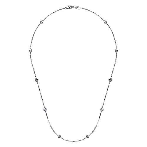 14k White Gold Endless Diamonds Diamond By The Yard Necklace angle 2