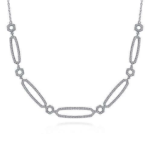 14k White Gold Endless Diamonds Fashion Necklace