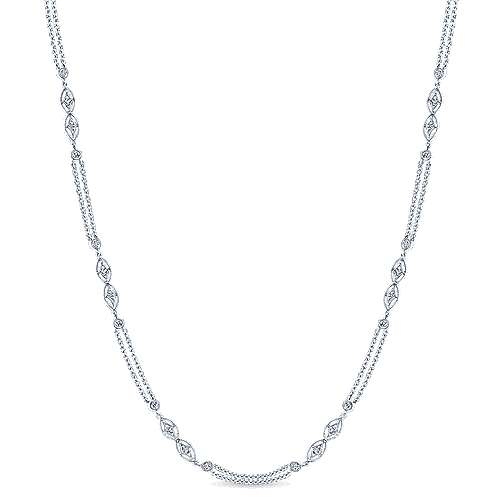 14k White Gold Endless Diamonds Station Necklace angle 1