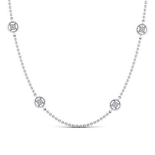 14k White Gold Endless Diamonds Station Necklace angle 1