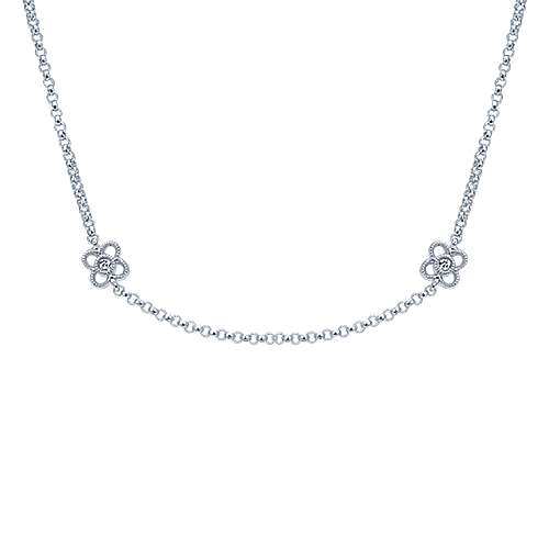 Gabriel - 14k White Gold Endless Diamonds Station Necklace