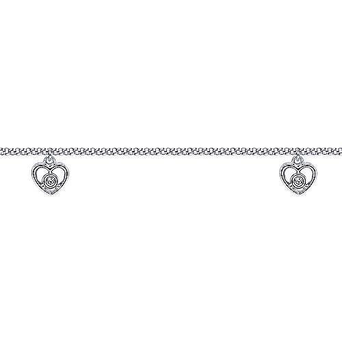 14k White Gold Eternal Love Chain Ankle Bracelet angle 2