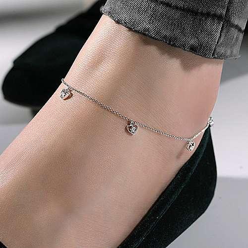 14k White Gold Eternal Love Chain Ankle Bracelet angle 3