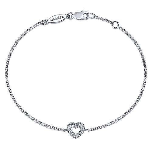 14k White Gold Eternal Love Heart Bracelet angle 1