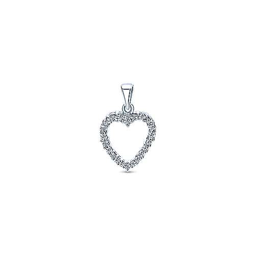 14k White Gold Eternal Love Heart Heart Pendant