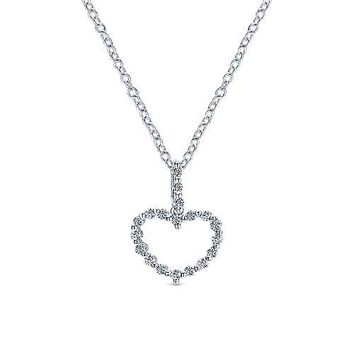 14k White Gold Eternal Love Heart Heart Pendant angle 3
