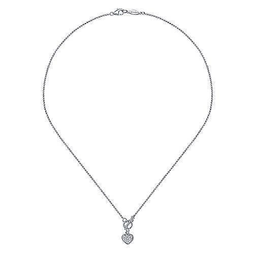 14k White Gold Eternal Love Heart Necklace angle 2