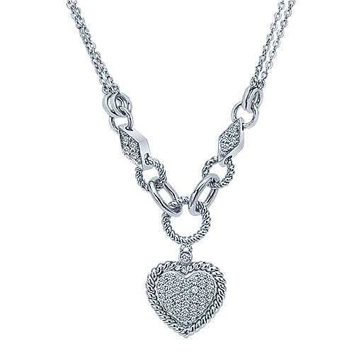 14k White Gold  Heart