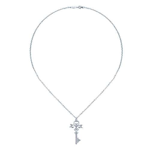 14k White Gold Eternal Love Key Necklace angle 2