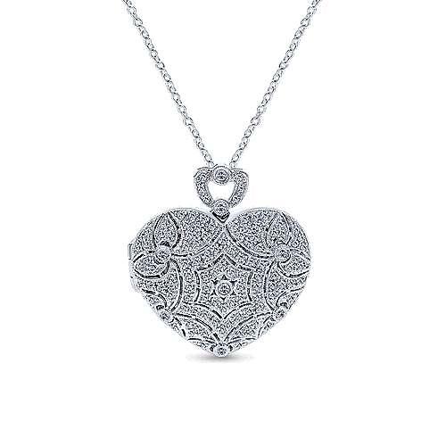 14k White Gold Eternal Love Locket Necklace