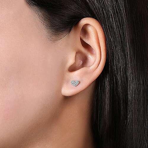 14k White Gold Eternal Love Stud Earrings angle 2
