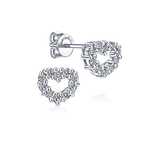 14k White Gold Eternal Love Stud Earrings angle 1
