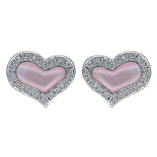 Gabriel - 14k White Gold Eternal Love Stud Earrings