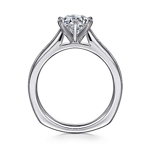 14k White Gold European Shank Solitaire Engagement Ring angle 2