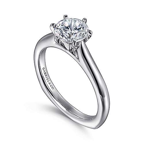 14k White Gold European Shank Solitaire Engagement Ring angle 3