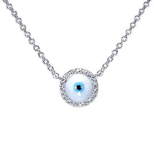 14k White Gold Evil Eye Fashion Necklace angle 1