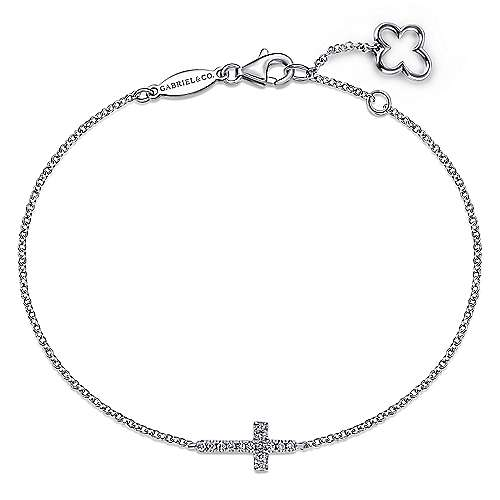 14k White Gold Faith Cross Bracelet angle 1