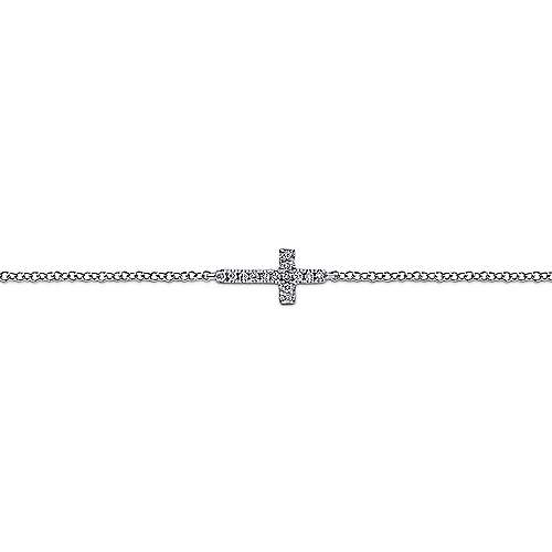14k White Gold Faith Cross Bracelet angle 2