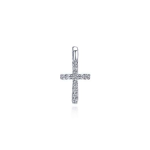 14k White Gold Faith Cross Cross Pendant angle 1