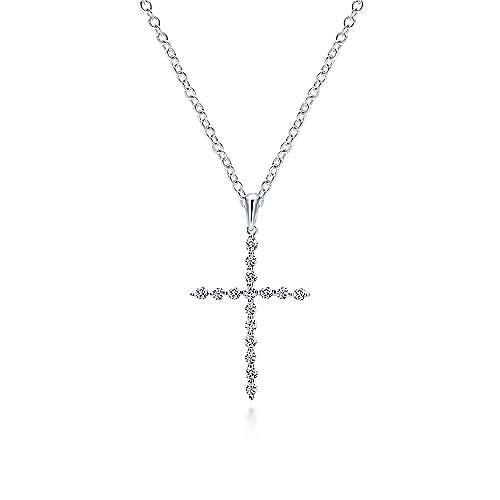14k White Gold Faith Cross Cross Pendant angle 3