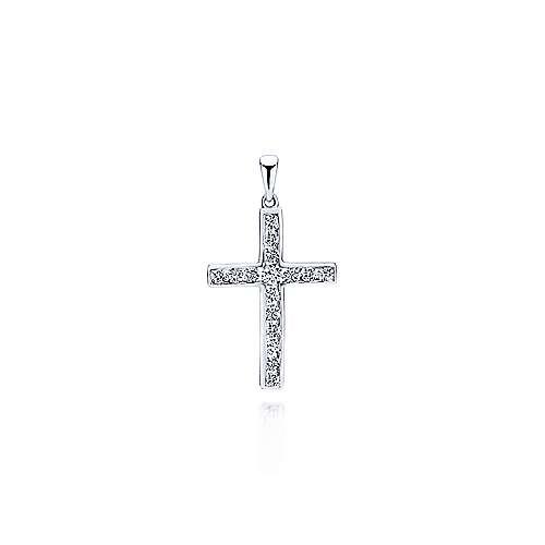14k White Gold Faith Cross Cross Pendant
