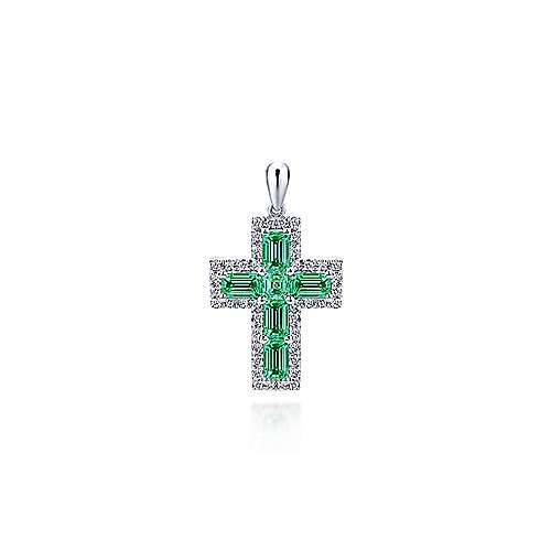 Gabriel - 14k White Gold Faith Cross Cross Pendant