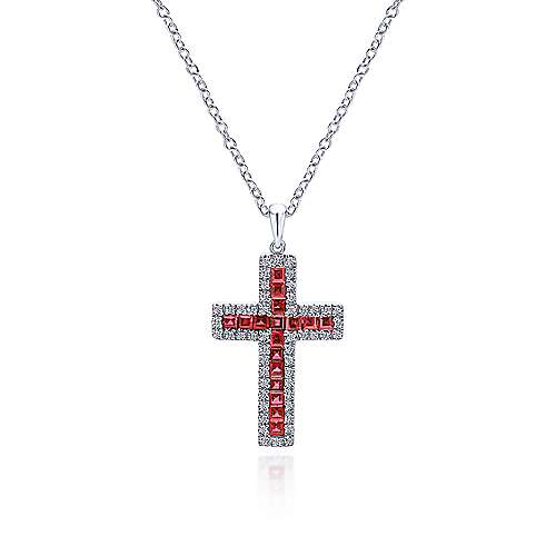 14k White Gold Faith Cross Cross Pendant angle 3