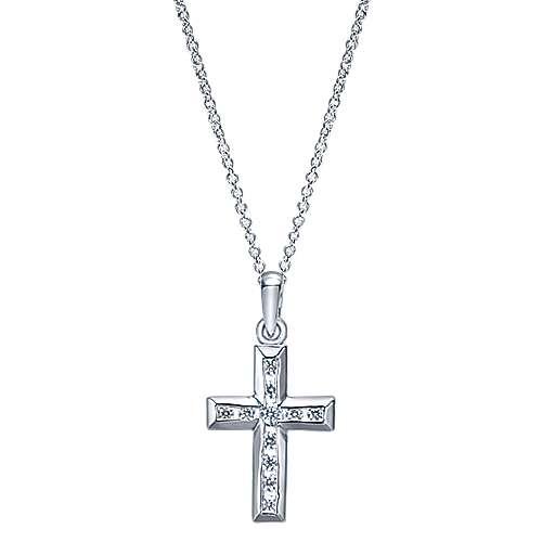 14k White Gold Faith Cross Necklace angle 1