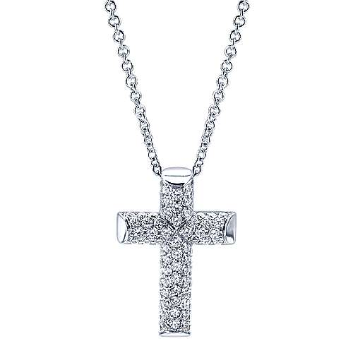 14k White Gold Faith Cross Necklace