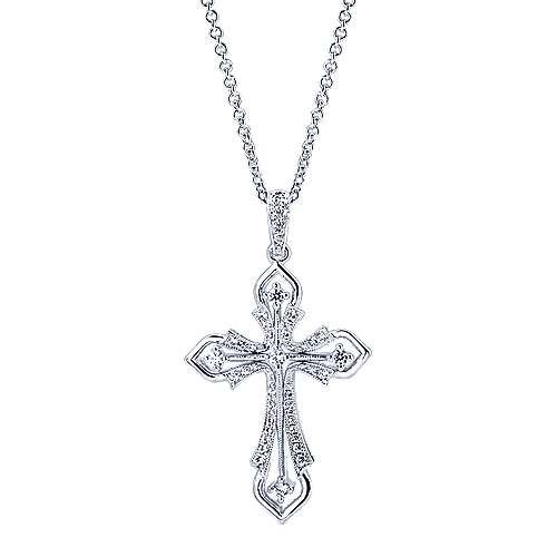 Gabriel - 14k White Gold Faith Cross Necklace