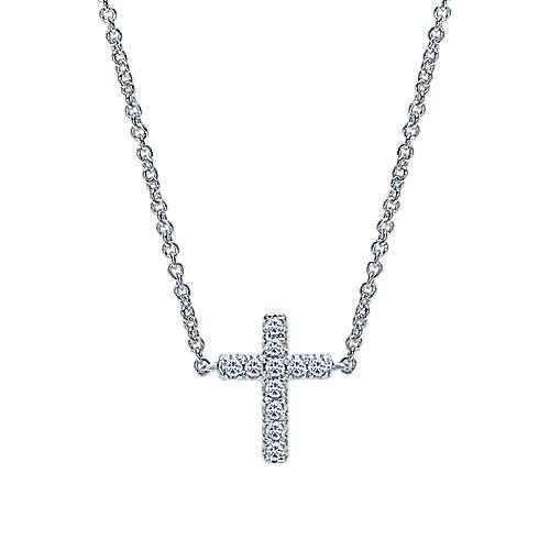 14k White Gold Faith Cross Necklace