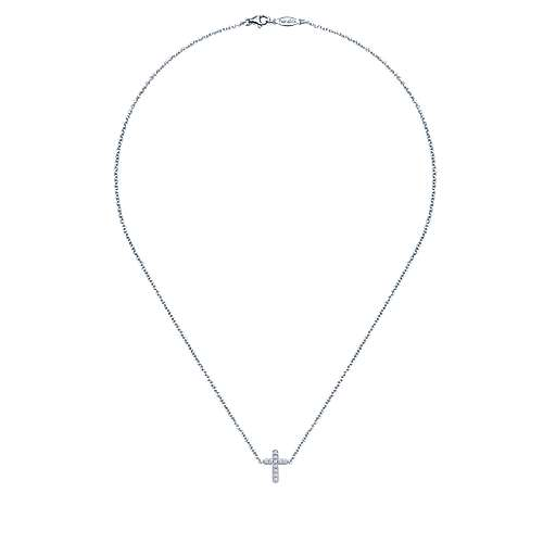 14k White Gold Faith Cross Necklace angle 2