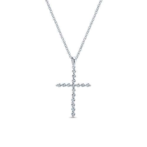 14k White Gold  Cross
