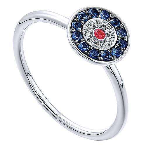 14k White Gold Faith Evil Eye Ladies' Ring angle 3