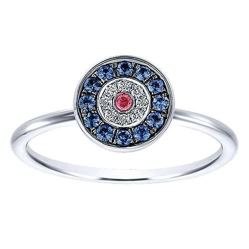 14k White Gold Faith Evil Eye Ladies' Ring angle 4