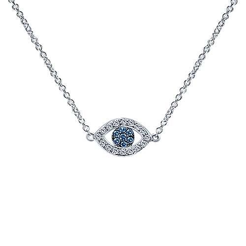 14k White Gold Faith Evil Eye Necklace angle 1
