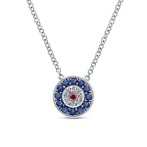 14k White Gold Faith Evil Eye Necklace