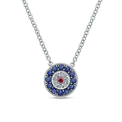 14k White Gold Faith Evil Eye Necklace