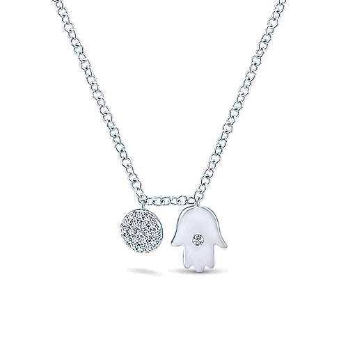 14k White Gold Faith Hamsah Necklace