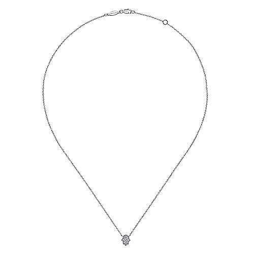 14k White Gold Faith Hamsah Necklace angle 2