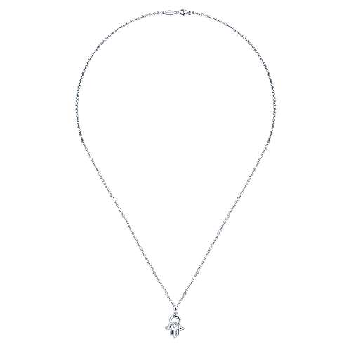 14k White Gold Faith Hand Of God Necklace angle 2