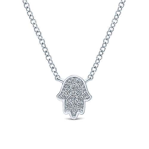 Gabriel - 14k White Gold Faith Hand Of God Necklace