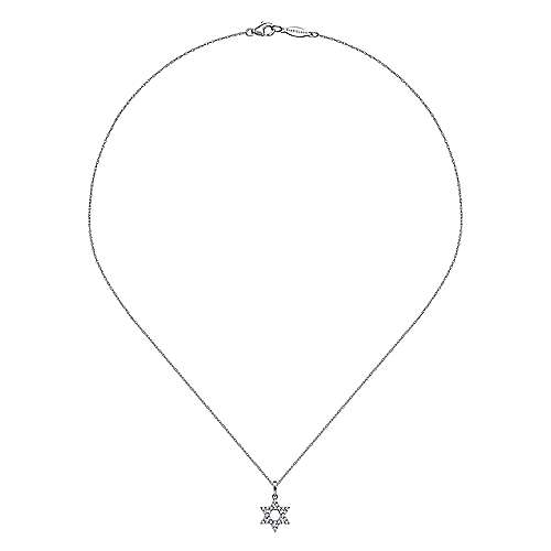 14k White Gold Faith Star Of David Necklace angle 2