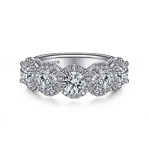 Gabriel - 14k White Gold Fancy 5 Stone Halo Anniversary Band