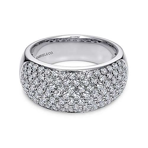 Gabriel - 14k White Gold Fancy Pavé Anniversary Band