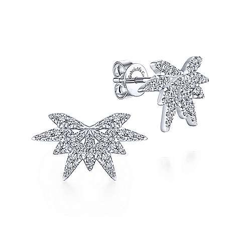 Gabriel - 14k White Gold Firecracker Diamond Stud Earrings