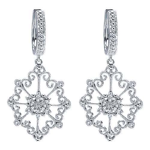 14k White Gold Flirtation Drop Earrings angle 1