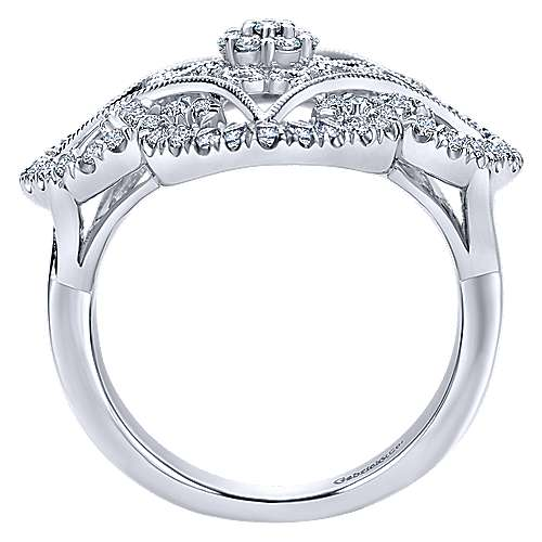 14k White Gold Flirtation Fashion Ladies' Ring angle 2
