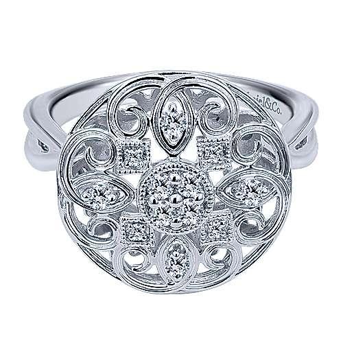 Gabriel - 14k White Gold Flirtation Fashion Ladies' Ring